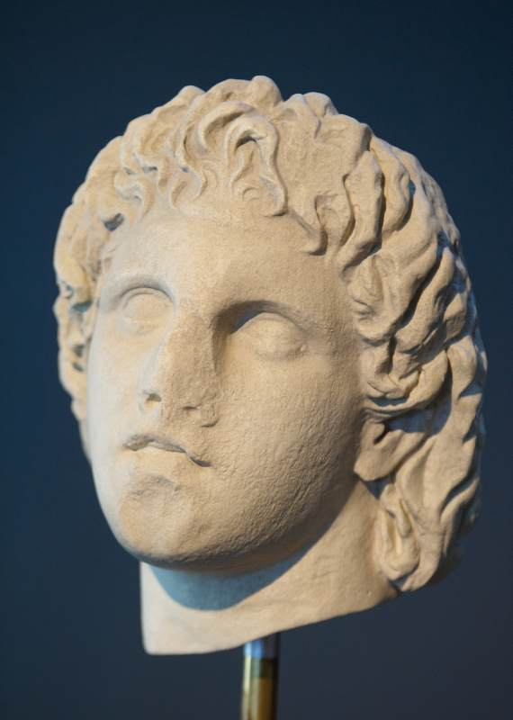 Marble head of Alexander the Great (325-300 BC). Chance find from the area of Giannitsa.
